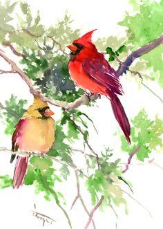 Cardinal Bird Artwork, Original one of a kind watercolor painting, cardinal birds, northern cardinal, birds of USA, male female cardinal art by ORIGINALONLY on Etsy