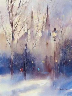 © Viktoria Prischedko Aquarelle Art You are in the right place about art dessin paysage Here we offe Art Aquarelle, Watercolor Artists, Watercolor Techniques, Watercolor Landscape, Landscape Art, Landscape Paintings, Watercolor Girl, Winter Landscape, Watercolor Pictures