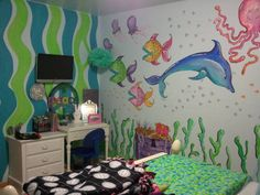 Mermaid & sea life room/mural. Treasure chest. My step daughters bedroom - she picked out every detail