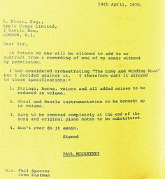 Paul McCartney letter to Allen Klein, April 1970  http://www.thebeatlesrarity.com/2013/06/20/asknat-concerning-orchestration-on-shes-leaving-home-vs-the-long-and-winding-road/