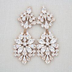 Statement Bridal Swarovski Crystal Earrings #weddingjewelry