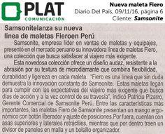 Samsonite: Nueva maleta Fiero en el diario Del País de Perú (09/11/16)