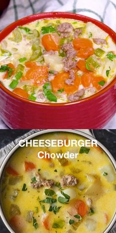 Cheeseburger Chowder - Hearty and comforting! A big bowl of this delicious chowder will keep you warm on a cold day. Chowder Recipes, Chili Recipes, Gourmet Recipes, Soup Recipes, Salad Recipes, Healthy Recipes, Big Bowl, Cheeseburger Chowder, Cheeseburger Sliders