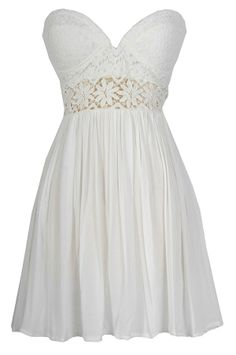 Fresh As A Daisy Strapless Lace Bustier Dress in White