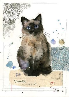 Siamese Cat by Jane Crowther for Bug Art greeting cards. - Siamese Cat - Ideas of Siamese Cat - Siamese Cat by Jane Crowther for Bug Art greeting cards. The post Siamese Cat by Jane Crowther for Bug Art greeting cards. appeared first on Cat Gig. Siamese Cats, Cats And Kittens, Kitty Cats, Ragdoll Kittens, Tabby Cats, Funny Kittens, Bengal Cats, White Kittens, Sphynx Cat