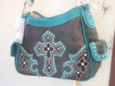 Brand New Montana West , Western  Cross , cowgirl Handbag Purse Rhinestones blue #MontanaWest #ShoulderBag