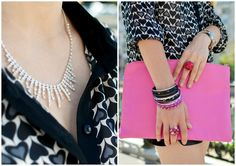 pink clutch, heart printed shirt, statement necklace