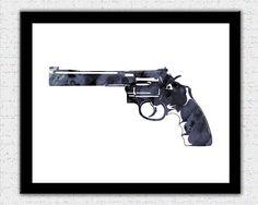 Gray black revolver print dark gray gun art black gray gun