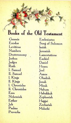 Books of the Old Testament - Bible Helps - Copyright 1934