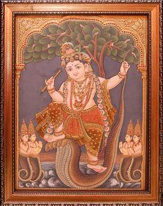 Kalinga Krishna See similar paintings at https://www.madhurya.com/tanjore-paintings/krishna/little-krishna-tanjore-painting.html #tanjorepaintings #krishnapaintings