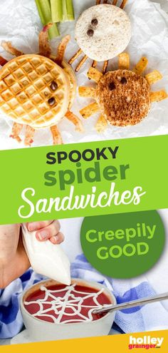 Spooky Spider Sandwiches - Get spooky this Halloween with three fun, filling, and healthy Spooky Spider Sandwiches to make your Halloween meals (and lunchboxes) more festive. Halloween Meals, Halloween Breakfast, Healthy Halloween, Snack Recipes, Dessert Recipes, Top Recipes, Delicious Recipes, Healthy Recipes, Healthy Meals For Kids