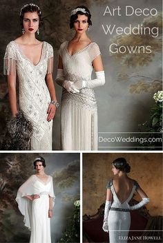 Incredible art deco, 1920s and 1930s style wedding gowns from design house Eliza Jane Howell. Each dress more perfect than the last...