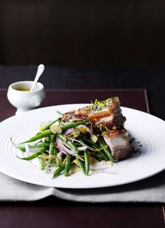 Head chef Anthony Demetre changes his menu frequently according to what's available at the market, but cheap cuts like pork belly and pork cheek regularly feature in dishes such as salad of French beans, fresh almonds, white peach and crisp pork belly (arbutus restaurant.co.uk)