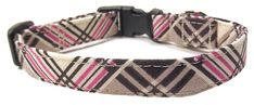 Coco Plaid Pink and Brown, Designer Cotton Dog Collar, Adjustable Handmade Fabric Collars * For more information, visit image link.