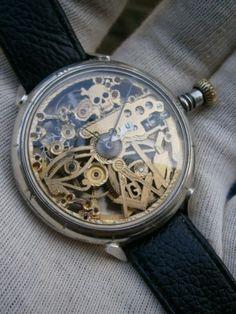 Vintage Zenith Skeleton Skull Masonic Engraved Pocket Wrist Watch Swiss | eBay