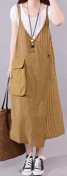 Fine-cotton-blended-summer-dress-Casual-Stripe-Big-Pocket-Loose-Suspender-Dress