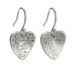 Silver Drop Earrings Uk Heart Shaped Handmade