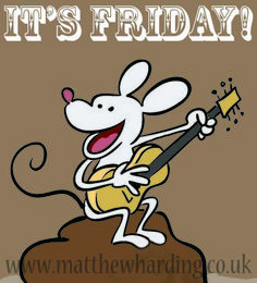 Weekend jubilation in guitar strumming cartoon mouse form.