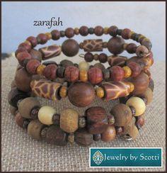 Brown Wood Gemstone Bracelet Set, Wood Bracelets, Her Wrap Bracelets, Set of 2 Statement Bracelets, Matching Earrings Available