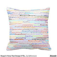 Harper's Ferry Text Design II Throw Pillow