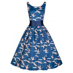 2087a934d7115 Lindy Bop Lana Vintage Inspired Rockabilly Bird Print Party Dress (M