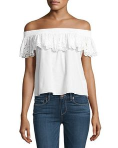 TUT9R MISA Los Angeles Eyelet Lace Off-the-Shoulder Top, White