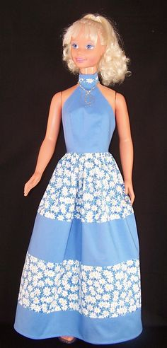 My Size Barbie Doll Sky Blue N Daisies Maxi Dress by SewDollyCute - https://www.etsy.com/shop/sewdollycute - $24