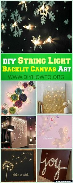 DIY String Light Backlit Canvas Art Ideas, Crafts with Instructions @diyhowto #Crafts, #WallDecor