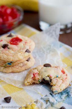 Taste and Tell Thursdays - Banana Split Cake Mix Cookies | Taste and Tell