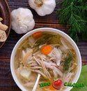 Куриный суп с лапшой на 100грамм - 41.49 ккал, Б/Ж/У - 4.25/0.63/4.47