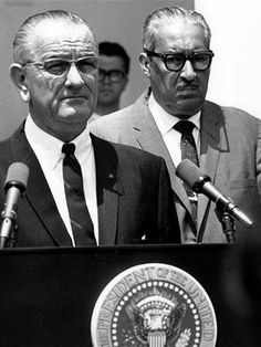 President Lyndon Johnson appoints U.S. Court of Appeals Judge Thurgood Marshall to fill the seat of retiring Supreme Court Associate Justice Tom C. Clark. June 13, 1967.