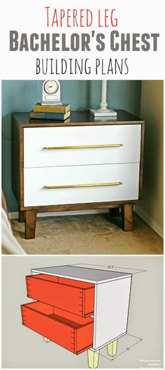 How to build a modern tapered leg bachelor's chest. Free nightstand building plans. I could totally build this myself!