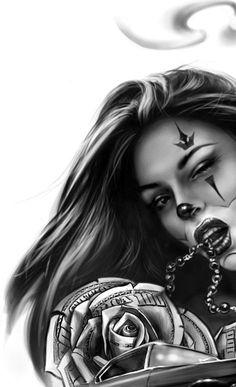 Resultado de imagen para chicano tattoo art and writing Chicano Art Tattoos, Chicano Drawings, Body Art Tattoos, Girl Tattoos, Sleeve Tattoos, Art Drawings, Gangster Tattoos, Skull Girl Tattoo, Clown Tattoo