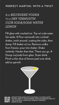 Perfect Martini, With a Twist, created with Highball. https://itunes.apple.com/app/id973319934