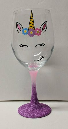 me ~ Unicorn Ombre Glitter Stem Wine Glass Diy Wine Glasses, Hand Painted Wine Glasses, Wine Glass Crafts, Wine Bottle Crafts, Gifts For Wine Lovers, Wine Gifts, Wine Glass Designs, Glitter Wine, Unicorn Crafts