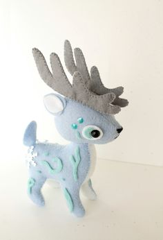 PDF Pattern Felt Reindeer Plush by typingwithtea on Etsy ||| deer, toy, plush, stuffed, animal, woodland, patronus, Harry Potter, expecto patronum, ornament, hang, gift, sew, fabric, felt, bead, embroider, winter, solstice, Christmas, doll