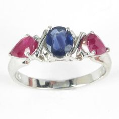 14k Gold Three-Stone Sapphire Ruby Ring