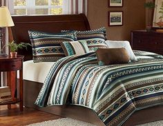 Southwest Turquoise Native American Queen Comforter Shams Toss Pillows U0026 Bed  Skirt (7 Piece Bed