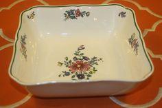 Villeroy Boch Alt Strassburg 6 Inch Square Serving Bowl No 4 Green Trim Flowers  | eBay