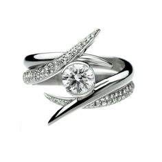 Shaun Leane  18ct white gold and diamond pair of entwined rings