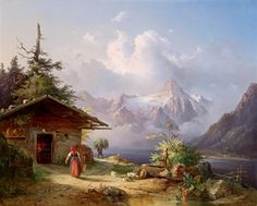 View of the Dachstein, in the foreground hut and figural staffage by Edmund Mahlknecht Fantasy Landscape, Landscape Art, Landscape Paintings, Fantasy Art, House Painting, Painting & Drawing, Winter Painting, National Gallery Of Art, Watercolor Art