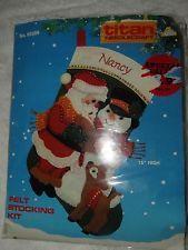 """Titan Needlecraft (1988) """"Santa Stocking"""" Felt Applique Christmas Stocking Kit"""