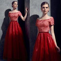 Bride toast service word shoulder slim short sleeved red wedding [C1 lady wedding dress] - $107.27 : Allymey.com