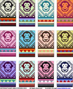 One dozen new Monkey Hat knitting kit colorways, from Mary Ann Stephens at Kidsknits.com.