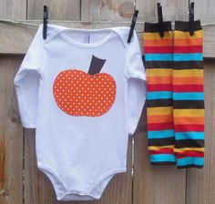 Autumn Pumpkin Dots and Stripes  2pc by mamarunswithscissors, $28.00