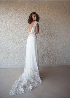 0fe9080db03 Charming Princess A-line V-neck Sweep Train Lace Applique Beach Wedding  Dresses Boho BWM1015. Wedding Dresses 2018Lace ...
