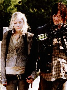 I never noticed that Daryl looks down at their hands. Not only is he holding her hand back, but he's observing it. Because all through his life, no one has hugged him, held his hand, listened to his problems. Beth has done all of that for him in a few short days, and I think this is about the time he realizes that Beth is someone he needs in his life. Beth doesn't truly know Daryl, through the series they've never really been close. But they've been given this chance to know  each other.