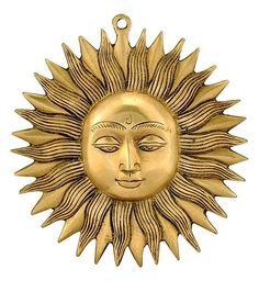 Sun God 'Surya' Brass Wall Plaque