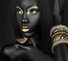 gold...Lips and Eyes and bracelets