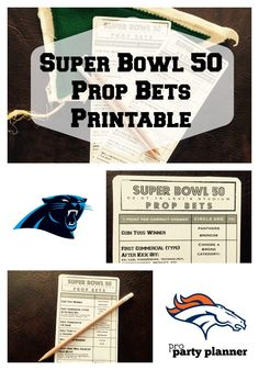 SUPER BOWL 52 Party Game Printable  // Super Bowl Prop Bets by proPartyPlanner // Printable Prop Bet cards for Super Bowl 52. Our game covers unique aspects of the game from the coin toss result, Super Bowl commercials, and half time show.
